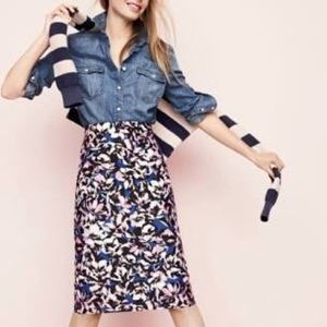 J. Crew Hibiscus a-line skirt